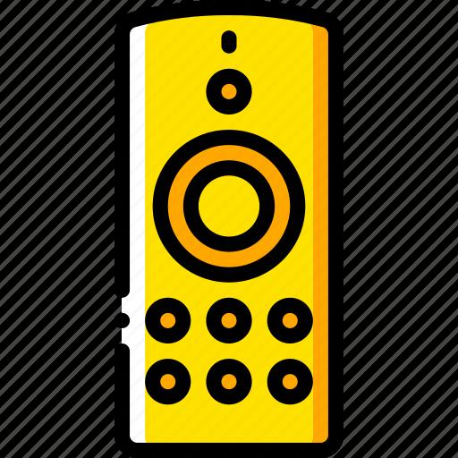 control, devices, remote, yellow icon