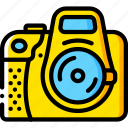 camera, devices, dslr, yellow icon