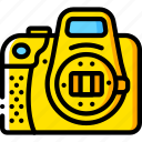 camera, devices, dslr, open, yellow icon