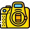 camera, cap, devices, dslr, lens, yellow icon