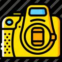 camera, cap, devices, dslr, lens, yellow icon