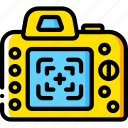 camera, devices, dslr, finder, view, yellow icon