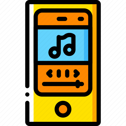 devices, ipod, mp3, player, yellow icon