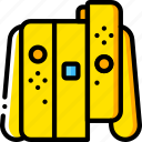 controller, devices, game, nintedo, right, switch, yellow icon