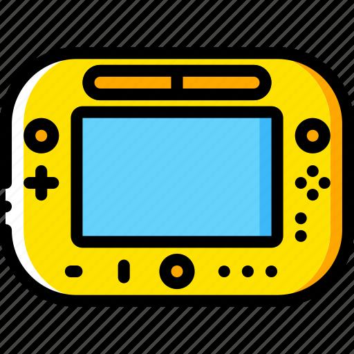 devices, game, nintendo, u, wii, yellow icon