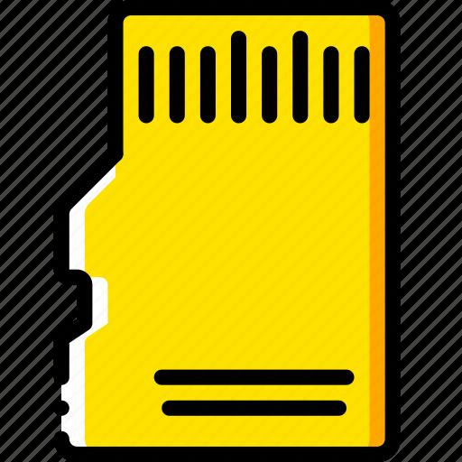 card, devices, memory, micro, sd, yellow icon