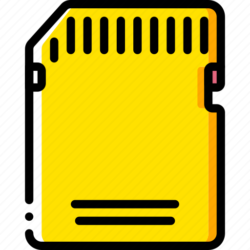 card, devices, memory, sd, yellow icon