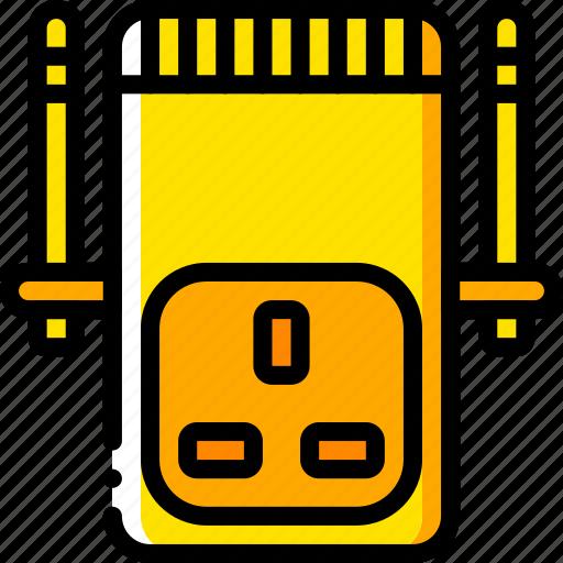 devices, plug, uk, wifi, yellow icon