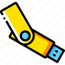 devices, memory, stick, usb, yellow icon