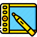 devices, drawing, tablet, wacom, yellow icon