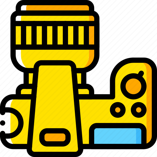 camera, devices, dslr, plan, yellow icon