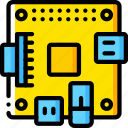 computer, devices, pi, rasberry, yellow icon