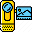 cam, camera, devices, handy, video, yellow icon
