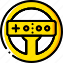 devices, game, nintendo, steering, wheel, wii, yellow icon