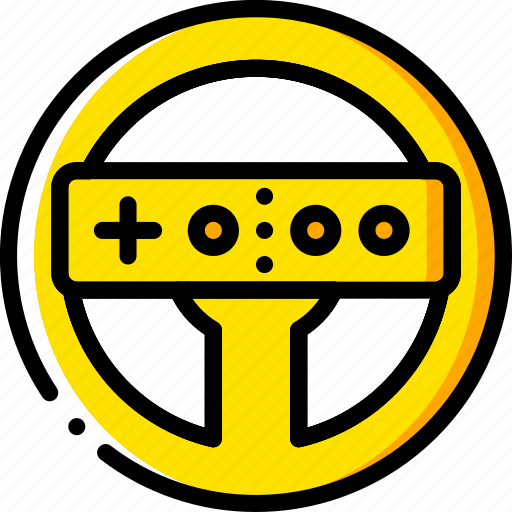 devices, game, nintendo, steering, wheel, wii, yellow icon