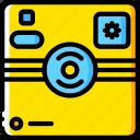 camera, devices, instant, polaroid, yellow icon