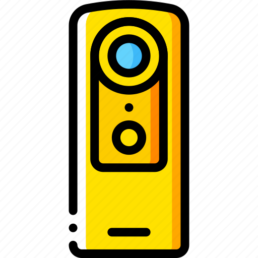 cam, camera, devices, video, yellow icon