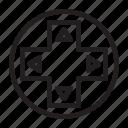 arrow, button, control, press, switch