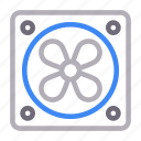 cooling, electronics, exhaust, fan, ventilator icon