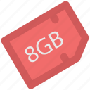 chip, data storage, eight gb, memory card, microchip, microsd, sd memory icon