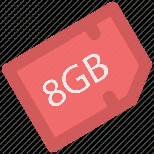 chip, data storage, eight gb, memory card, microchip, microsd, sd memory icon