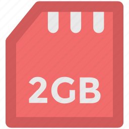 chip, data storage, memory card, microchip, microsd, sd memory, two gb icon