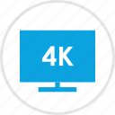 four, k, screen, tv icon