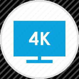 four, k, screen, tv icon