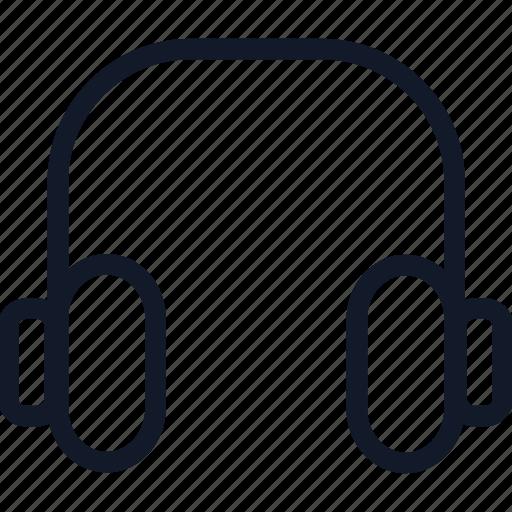 audio, electronics, headphones, line, listen, music, sound icon
