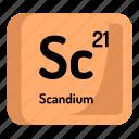 chemistry, atomic, element, atom, scandium, mendeleev icon