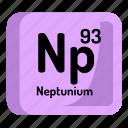 chemistry, atomic, neptunium, element, atom, mendeleev icon