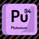 chemistry, atomic, element, plutonium, atom, mendeleev icon