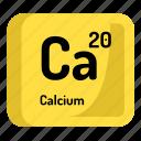 chemistry, calcium, atomic, element, atom, mendeleev icon