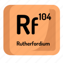 chemistry, rutherfordium, atomic, element, atom, mendeleev icon