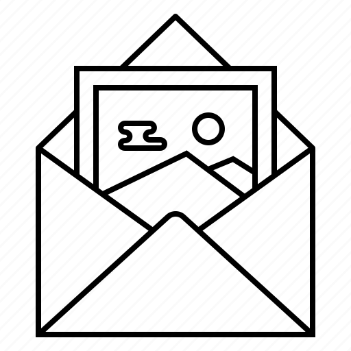 attachment, email, envelope, image, picture icon