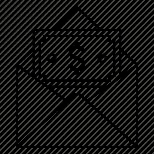 dollar, email, envelope, money icon