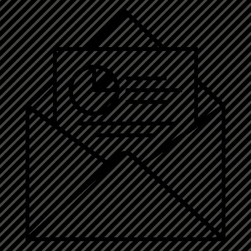 analytics, chart, email, envelope, report, sales report, statistics icon