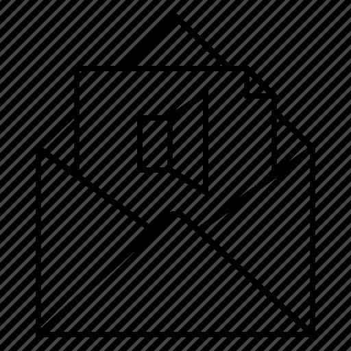 attachment, audio, audio file, email, envelope, music icon