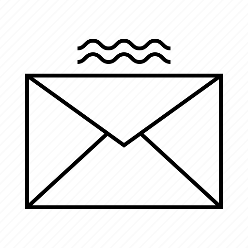 email, envelope, wave icon