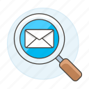 emaile, letter, search, scan, envelope, email, mail, view icon