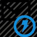 communication, email, envelope, fast, lightning, mail, power icon