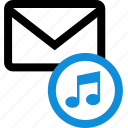 communication, email, envelope, mail, music, note, play icon