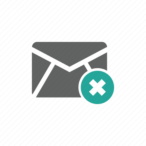 cross, delete, email, envelope, mail icon