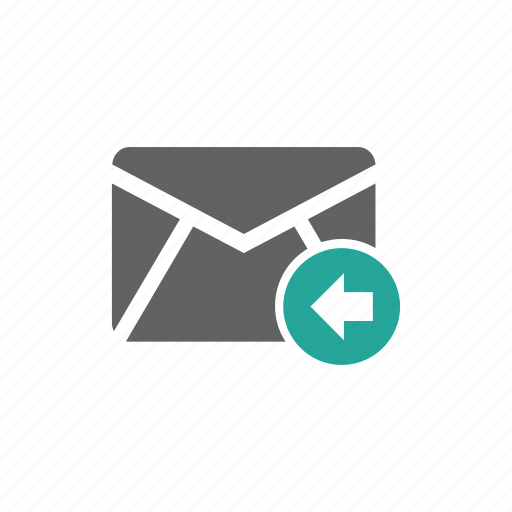 arrow, email, envelope, in, left, mail icon