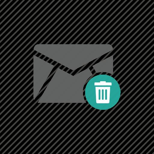 delete, email, envelope, mail, trash, trash bin icon