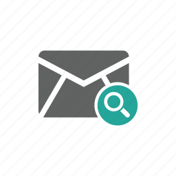 email, envelope, magnify glass, mail, search icon