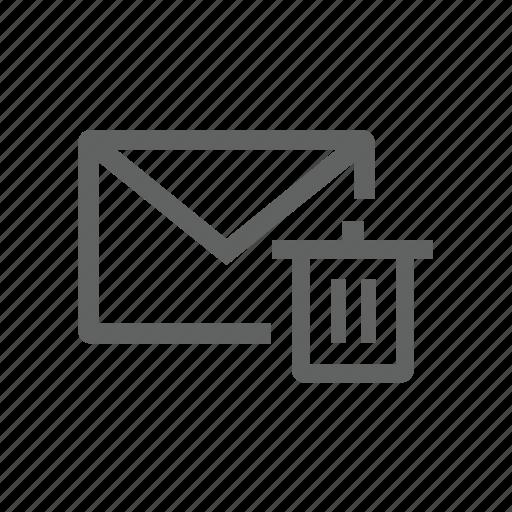delete, email, mail, remove, trash, trash bin icon