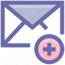 add, email, envelope, letter, mail, message, plus, post icon