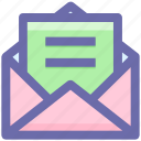 envelope, letter, mail, message, open envelope, sheet icon