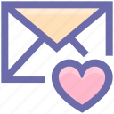 envelope, favorite, heart, letter, mail, message, post icon